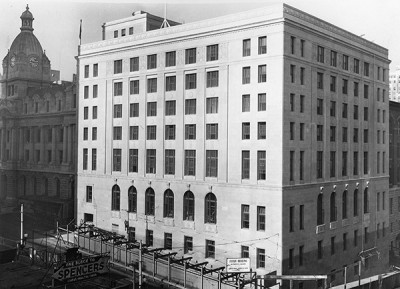 Federal Building (1937-1939) designed by McCarter & Nairne, at Granville & Cordova Street. Image CVA