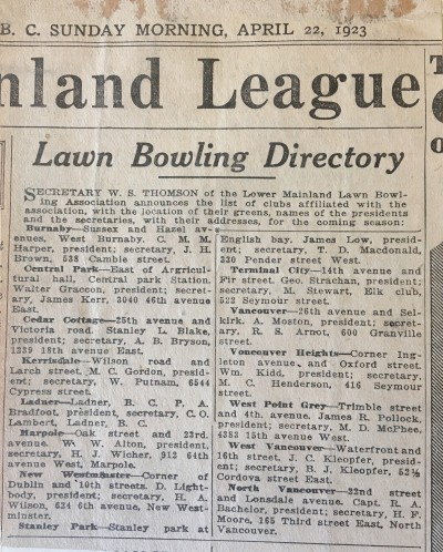Lawn bowling directory for the lower mainland, published April 22, 1923