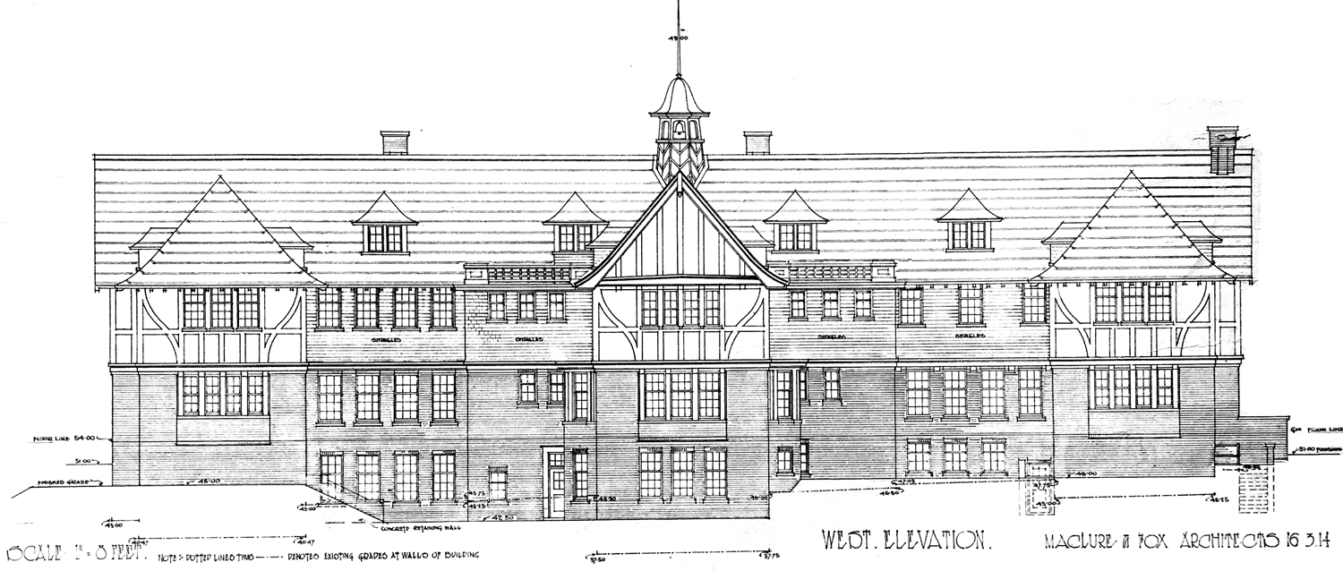 West elevation, Fairmont Academy, formerly Langara School for Boys, designed by Maclure & Fox in 1914. (Elevations CVA)